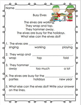 Christmas reading comprehension passages and questions Grade 1