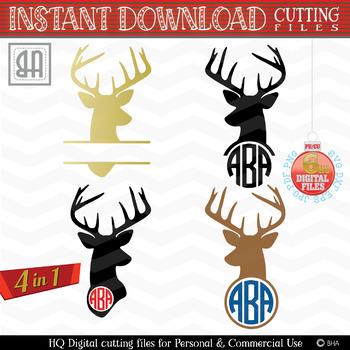 Christmas reindeer SVG, Reindeer Monogram, Christmas bundle, Christmas SVG