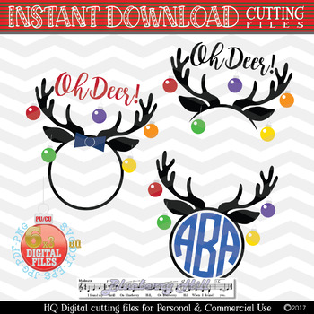 Christmas reindeer SVG, Reindeer Monogram, Christmas mini bundle - Xmas svg