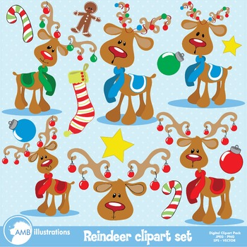 Christmas reindeer clipart AMB-500