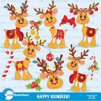 Christmas Clipart, Reindeer Clip art, Digital Clipart, AMB-584