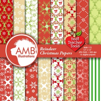 Christmas Digital Papers, Reindeer Digital Backgrounds, AMB-172
