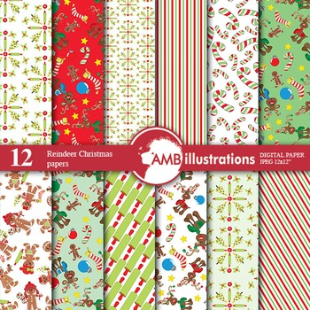Digital Papers -  Reindeer papers and backgrounds AMB-509