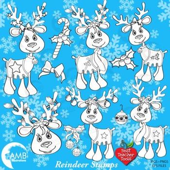 ChristmasReindeer Digital Stamp Clipart, Christmas line drawing, AMB-951