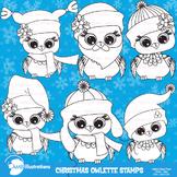 Clipart, Digital Stamps, Christmas Baby Owls, Christmas line drawing, AMB-952