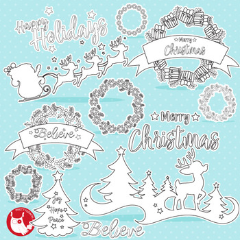 Christmas reindeer stamps,  commercial use, vector graphics, images  - DS1044