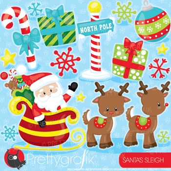 Christmas santa sleigh clipart commercial use, digital cli