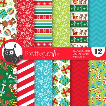 Christmas santa sleigh papers, commercial use, scrapbook papers - PS761