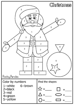 Christmas shape characters - Shape finding and color by number