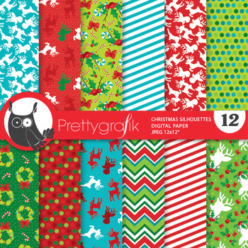 Christmas silhouette papers, commercial use, scrapbook papers - PS831