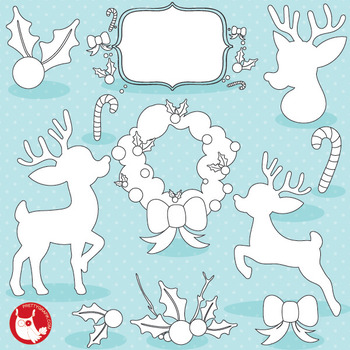 Christmas silhouettes stamps commercial use, vector graphics, images  - DS1038