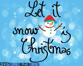 Christmas snow Word Art clipart Silhouette Santa Claus Clip Art snowman -446s