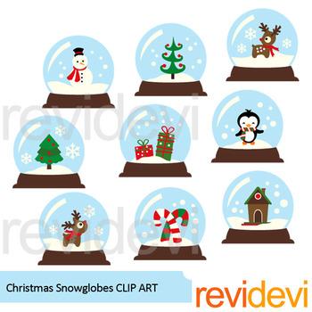 Christmas snow globes clip art