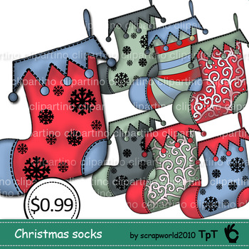 Christmas sock clipart,stock vector,christmas graphics-Bundle