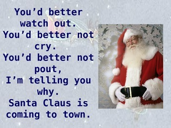 """Christmas song """"Santa Claus is coming to Town"""" Powerpoint"""