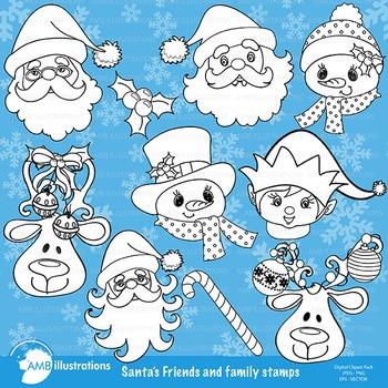 Clipart, Digital Stamps, Christmas Santa Faces, Outlines, Black line, AMB-564