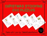Christmas stocking puzzles for CVC segmenting and blending practice