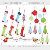 Christmas stockings clipart - clip art, stocking, elves socks, trees, ornaments