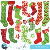 Christmas stockings clipart commercial use, vector graphics - CL615
