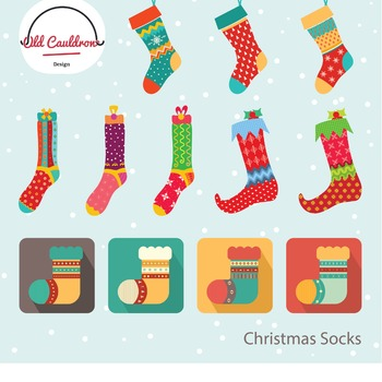 Christmas stockings digital clip art commercial use, vector graphics CL003
