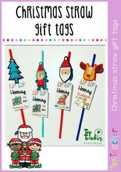 Christmas straw gift tags