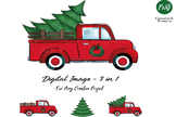 Christmas sublimation, red truck with Christmas Tree, wrea