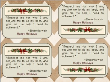 Christmas tag on gift for teachers