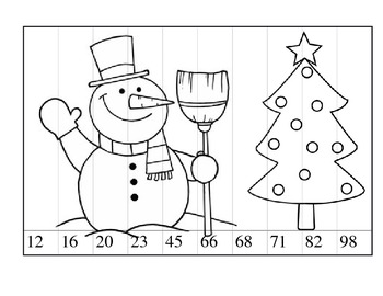 Christmas theme 2 digit place value cut and paste with picture