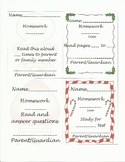Christmas theme literacy homework tags with parent signature