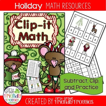 Math Centers - Subtract, Clip and Glue-Christmas themed