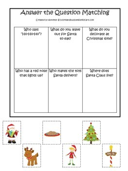Christmas themed Answer the Question preschool learning activity.  Child Care.