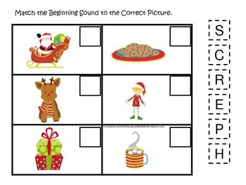 Christmas themed Beginning Sounds preschool learning activity.  Child Care.