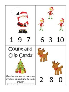 Christmas themed Count and Clip preschool learning activity.  Child Care.
