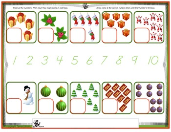 Christmas themed Counting/Tracing/Writing numbers 1 - 10