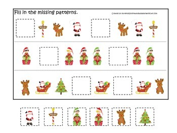 Christmas themed Fill in the Missing Pattern preschool learning activity.