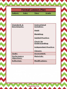 Christmas-themed Formal Lesson Plan Template