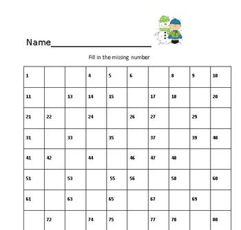 Christmas themed Hundreds Chart-Fill in the missing numbers