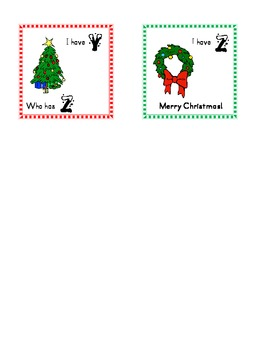 Christmas themed I have, who has ABC cards