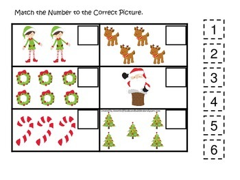 Christmas themed Match the Number preschool daycare learning activity.