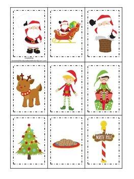 Christmas themed Memory Matching preschool learning activity.  Child Care.