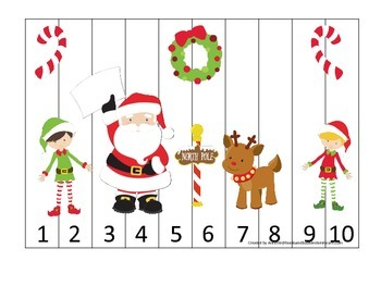 Christmas themed Number Puzzle preschool learning activity.  Child Care.