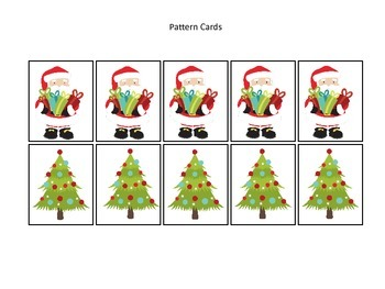 Christmas themed Pattern Cards #1 preschool printable activity.  Daycare Curricu