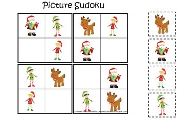 Christmas themed Picture Sudoku preschool learning game.  Daycare game.