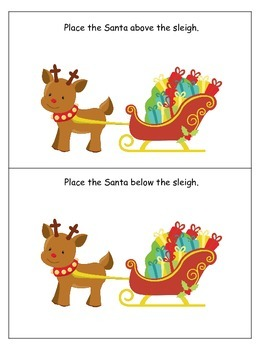 Christmas themed Positional Cards preschool learning game.  Daycare game.