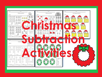 Christmas themed Subtraction activities with pictures (Spanish and English)