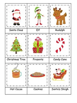 Christmas themed Three Part Matching preschool learning activity.  Child Care.