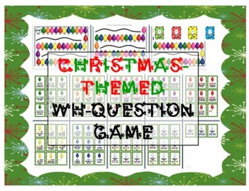 Christmas/Holiday-themed WH-question game for speech therapy / preschool