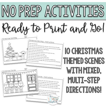 Christmas themed following directions coloring pack - NO PREP