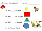 Christmas themed math geometry and numeracy worksheet pack