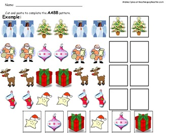 Christmas themed math patterning worksheet pack